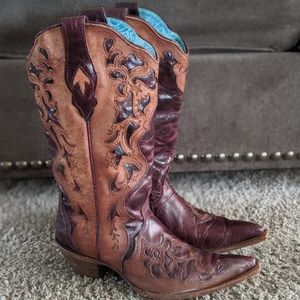 CORRAL laser cut cowgirl boots cognac/saddle sz 11